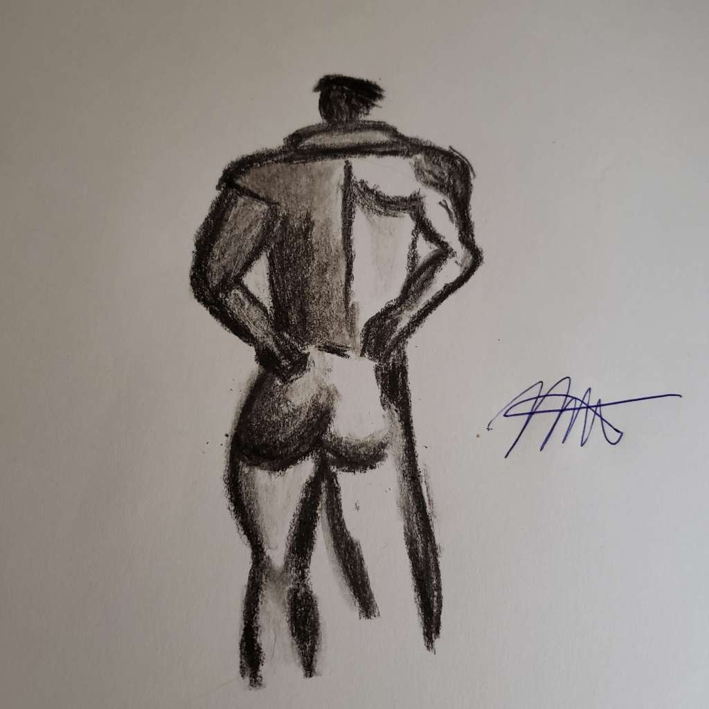 Male form in charcoal pencil- abstact