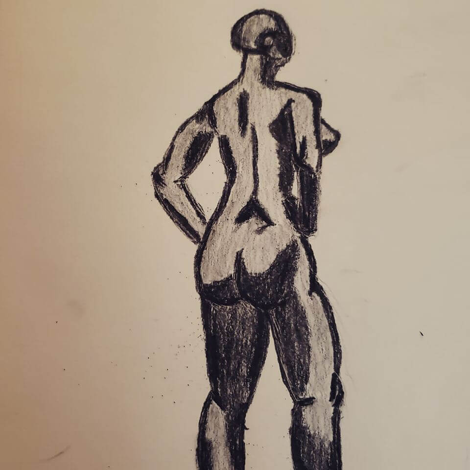 female form in charcoal pencil- abstract